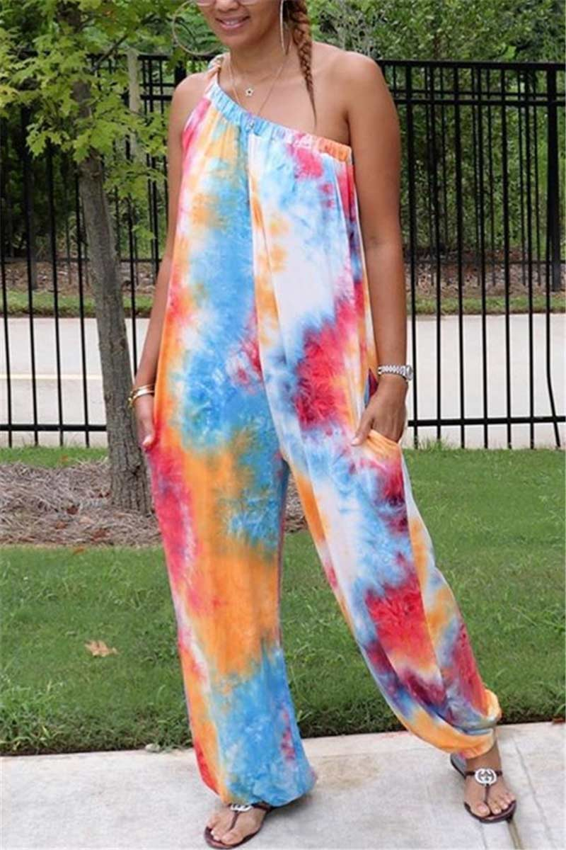 Fashion Oblique Collar Tie-dye Print Jumpsuits