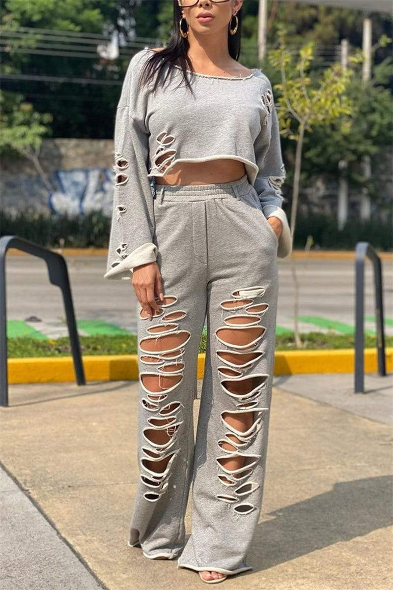 Fashion Solid Color Broken Hole Two Piece