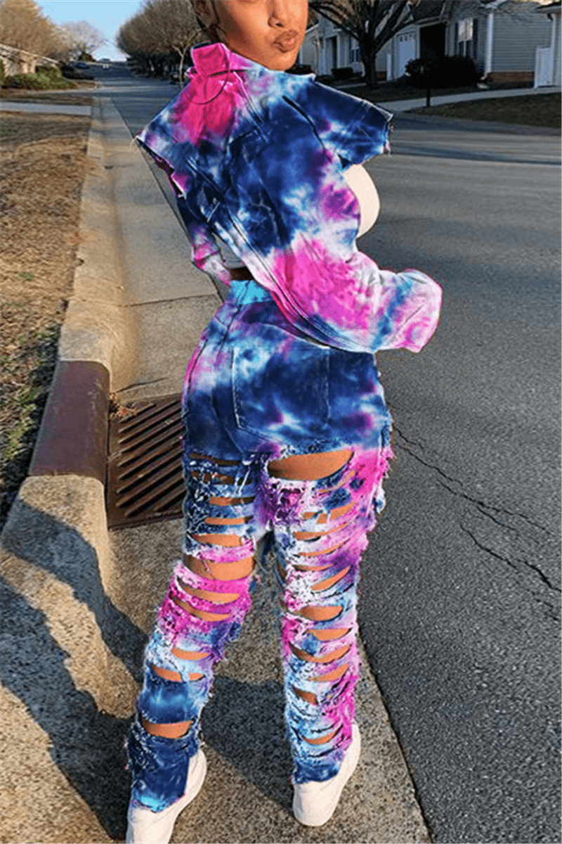 Fashion Casual Print Tie Dye Straight Jeans
