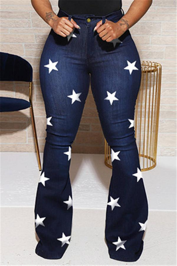 Fashion Casual Stars Print Trousers