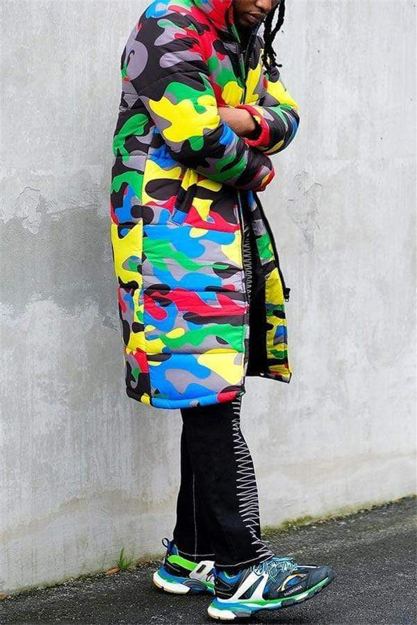 Fashion Camouflage Hooded Collar Print Coat