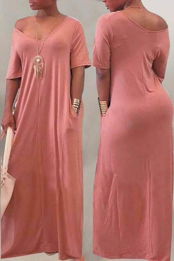 Casual Loose Pockets Design Maxi Dress