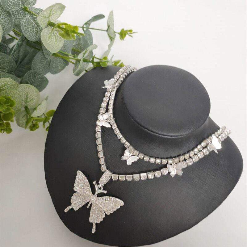 Fashion Diamond Butterfly Necklaces