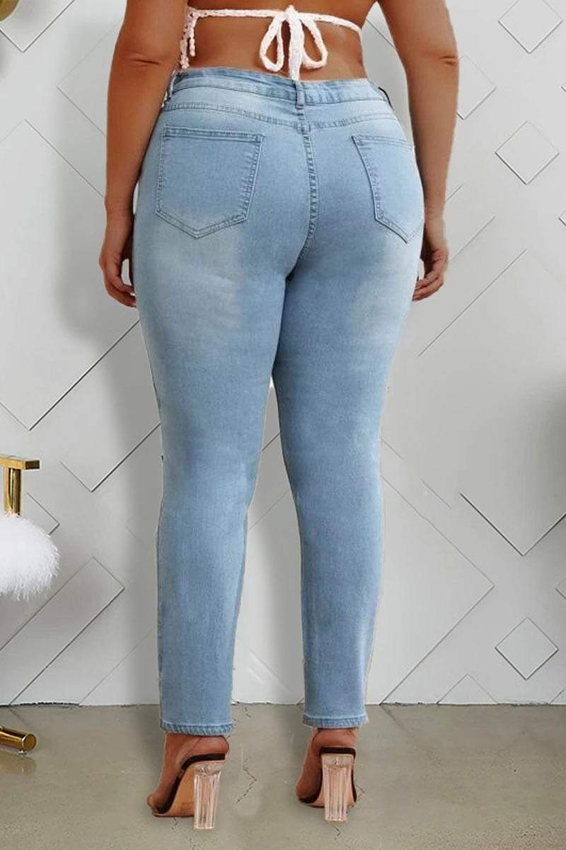 Fashion Plus Size Hole Jeans