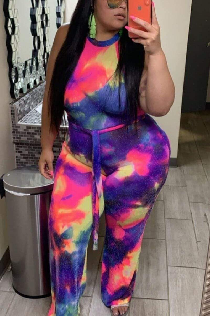 Fashion Multicolor Plus Size Jumpsuit