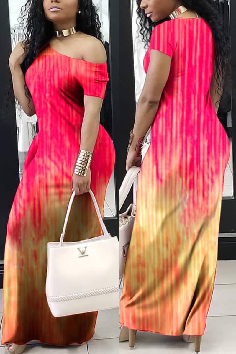 Sexy Slim Printed Maxi Dress