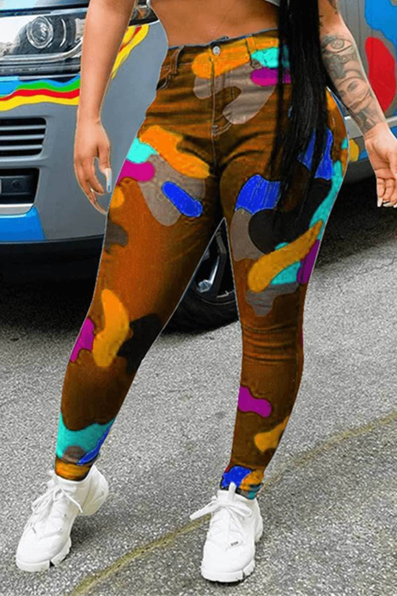 🔥Fashion Multicolor Printed Skinny Trousers