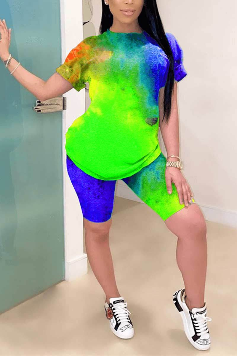 Casual Print Multicolor Short Sleeve Two Piece