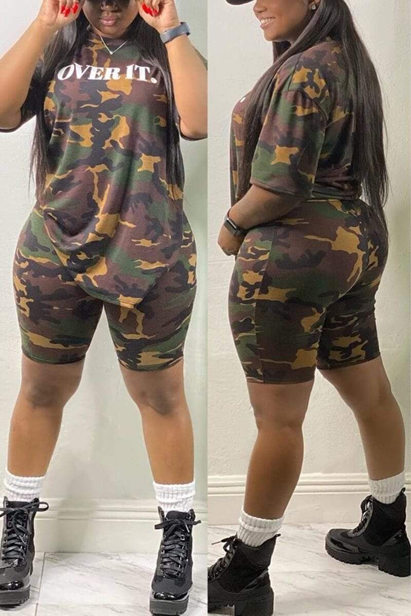 Casual Printed Camouflage Plus Size Set