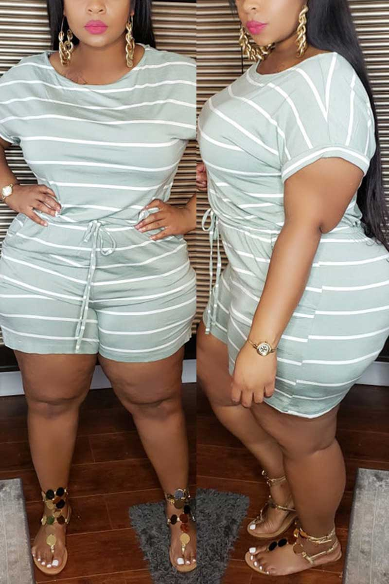 Casual Striped Print Plus Size Romper