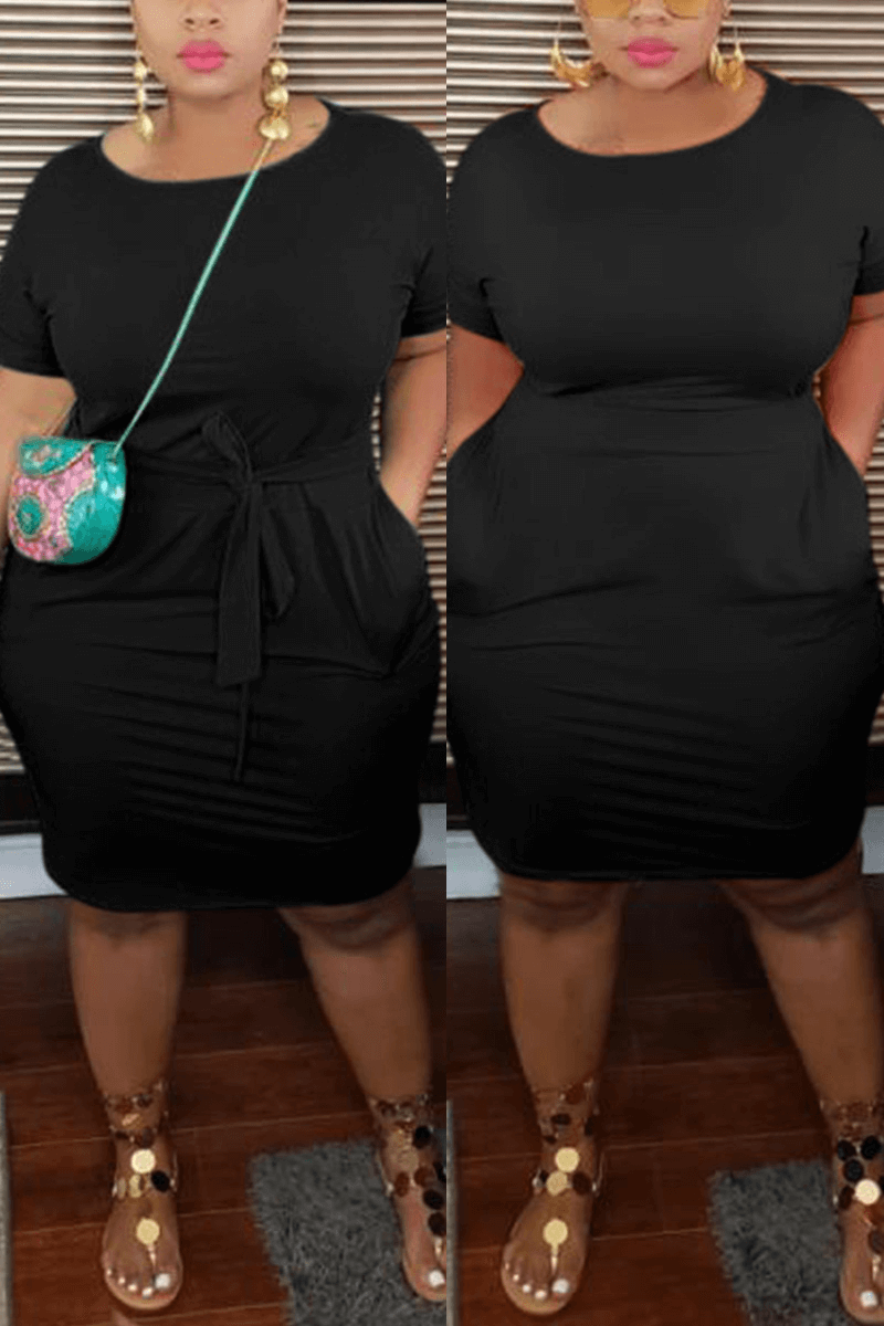 Fashion Casual Solid A Line Plus Size Dress