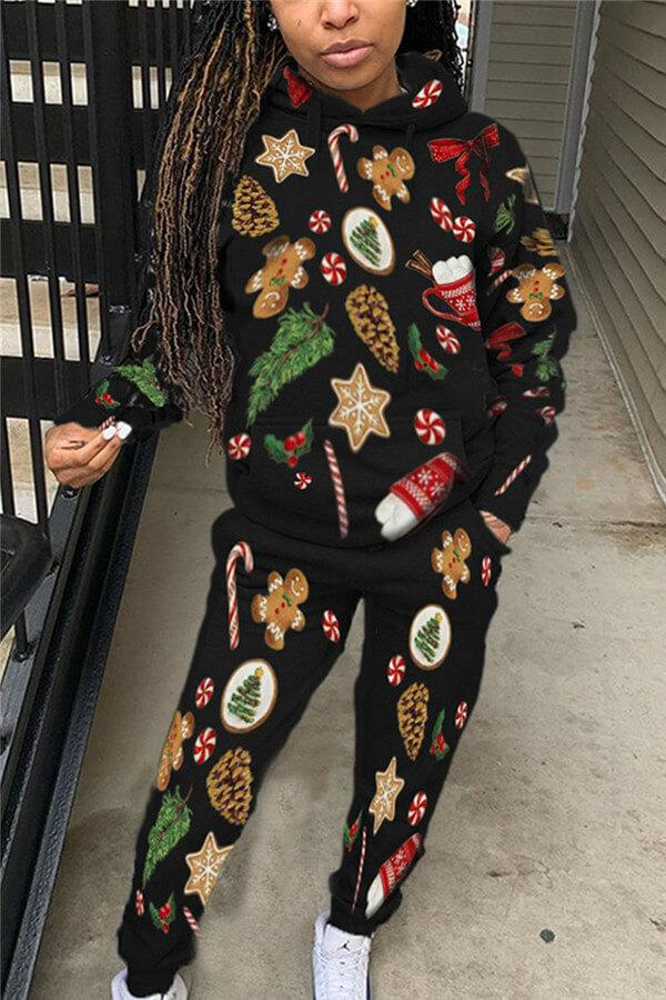 Fashion Casual Christmas Print Two Pieces