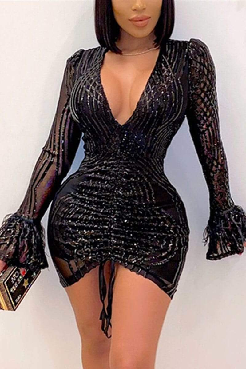 Fashion Sexy V Neck Mini A Line Dresses