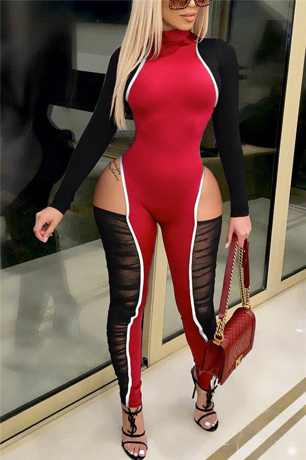 Fashion Sexy Zipper Collar Skinny Jumpsuits