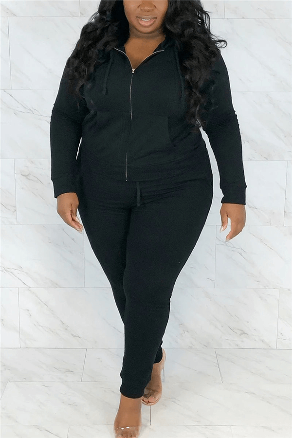 Fashion Sportswear Solid Color Hoodie Plus Size Set