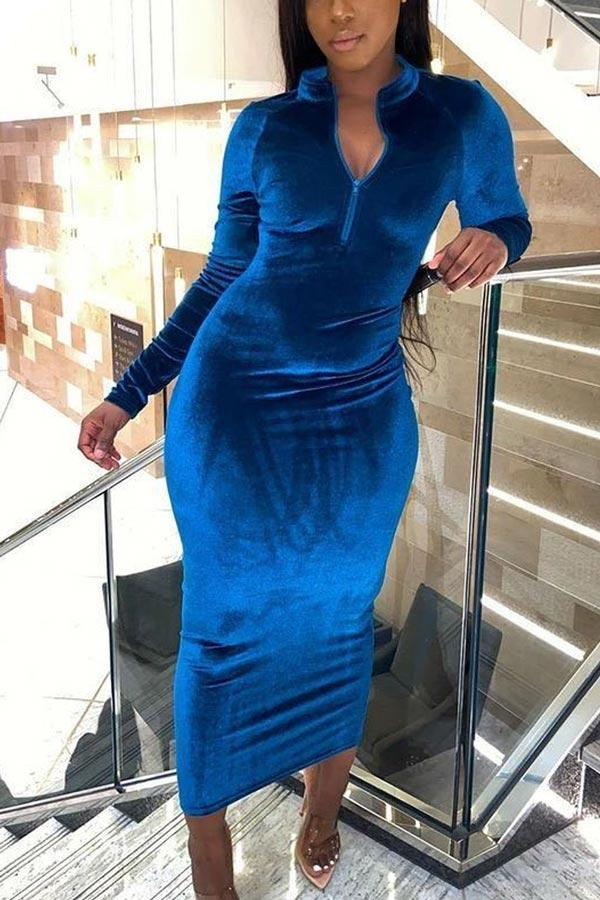 Fashion Velvet Solid Color Dress