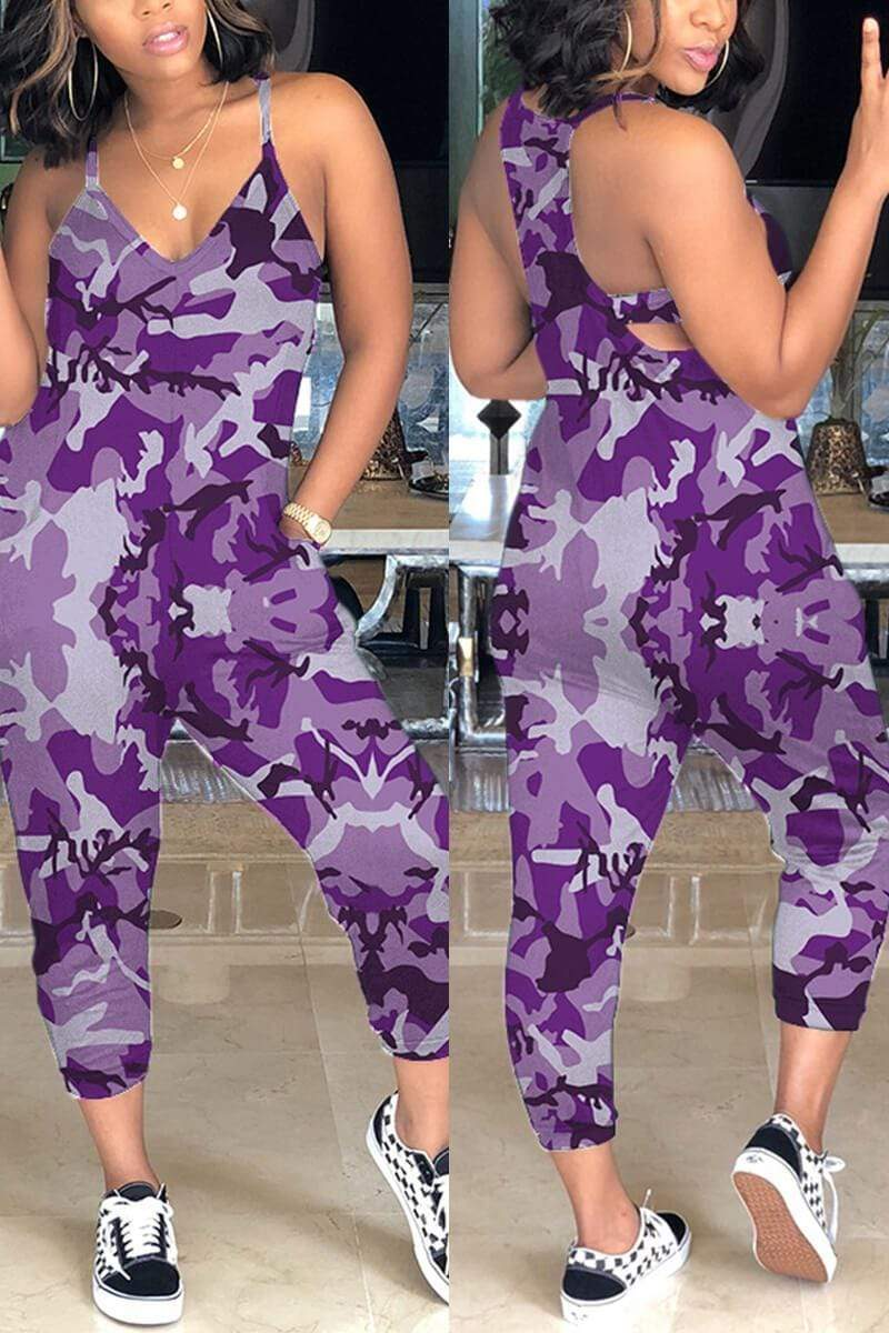 Sexy Camouflage Printed Sling Jumpsuit