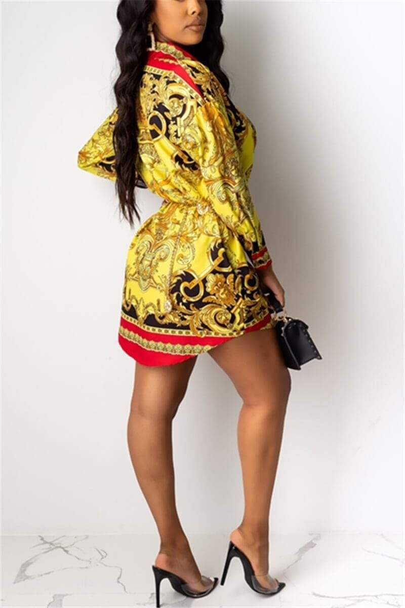 Sexy Loose Printed Multicolor Shirt Dress