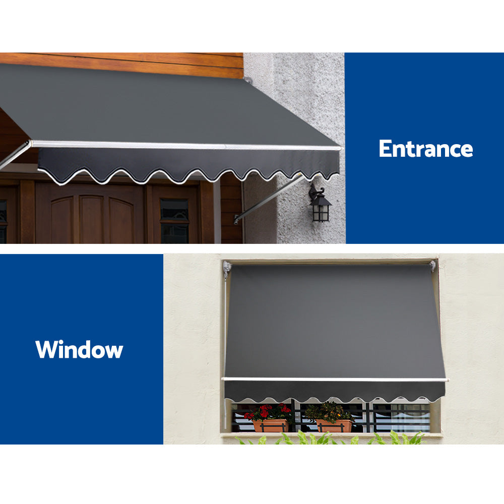 2.1X2.8 Retractable Fixed Pivot Arm Window Awning Garden Blinds