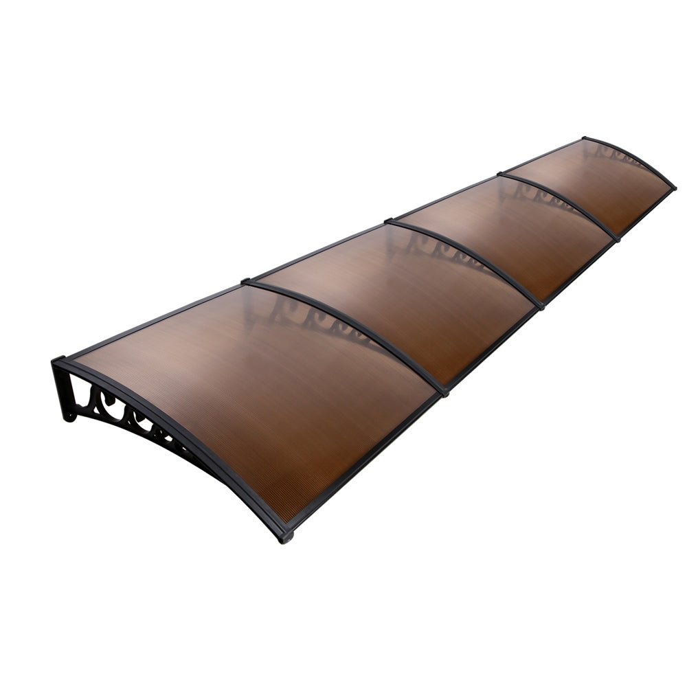 Instahut Window Door Awning Door Canopy Patio UV Sun Shield BROWN 1mx4m DIY - AusWide Deals