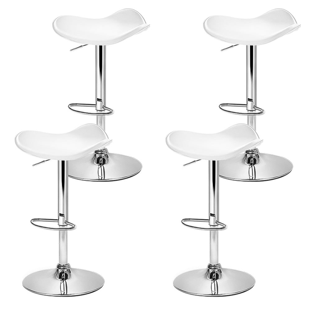 Set of 4 Kitchen Bar Stools Swivel Bar Stool PU Leather Gas Lift Chair White