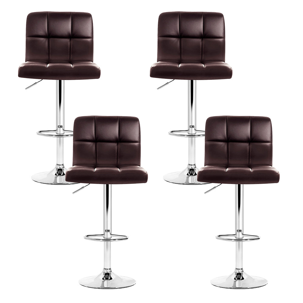 Set of 4 Leather Bar Stools NOEL Kitchen Chairs Swivel Bar Stool Gas Lift Brown