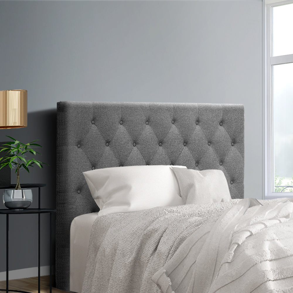 King Single Size Bed Head Headboard Bedhead Fabric Frame Base CAPPI Grey