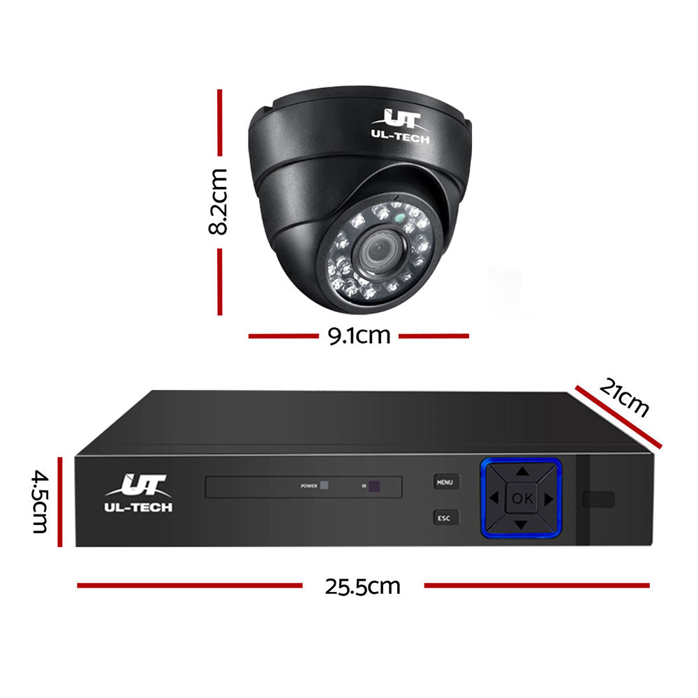 CCTV Camera Security System 4CH 2 Dome Camera DVR HD 1080P IP Kit Day Night