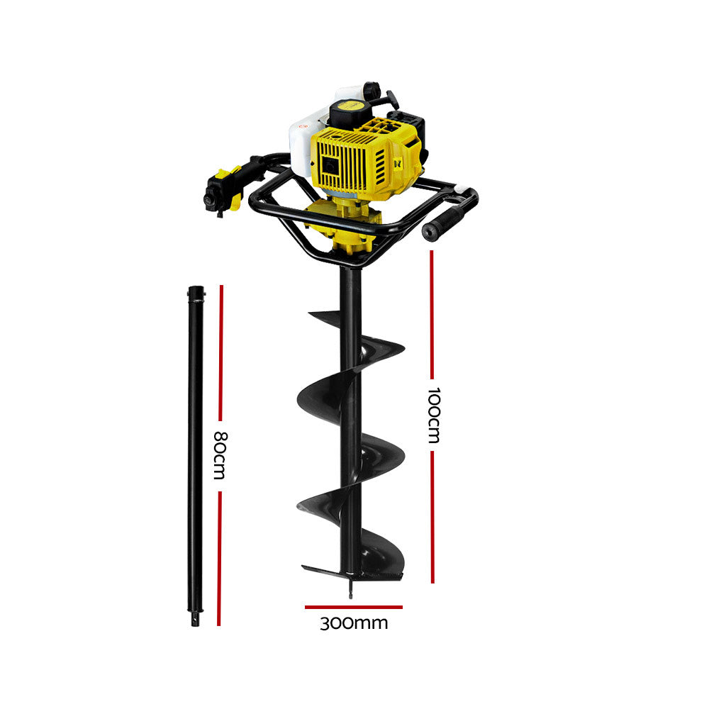 92CC Post Hole Digger Petrol Auger Drill Borer Fence Earth Power 300mm
