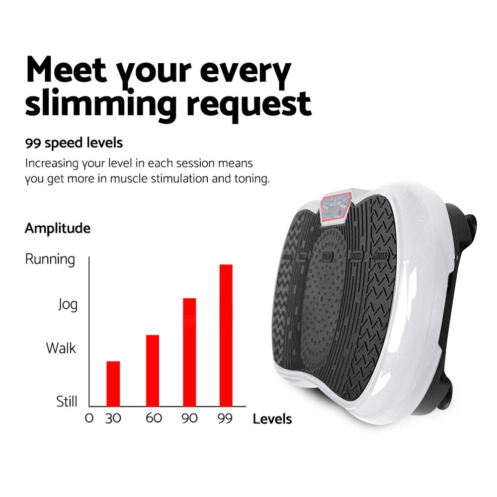 Everfit Vibration Machine Plate Platform Body Shaper Home Gym Fitness White - AusWide Deals