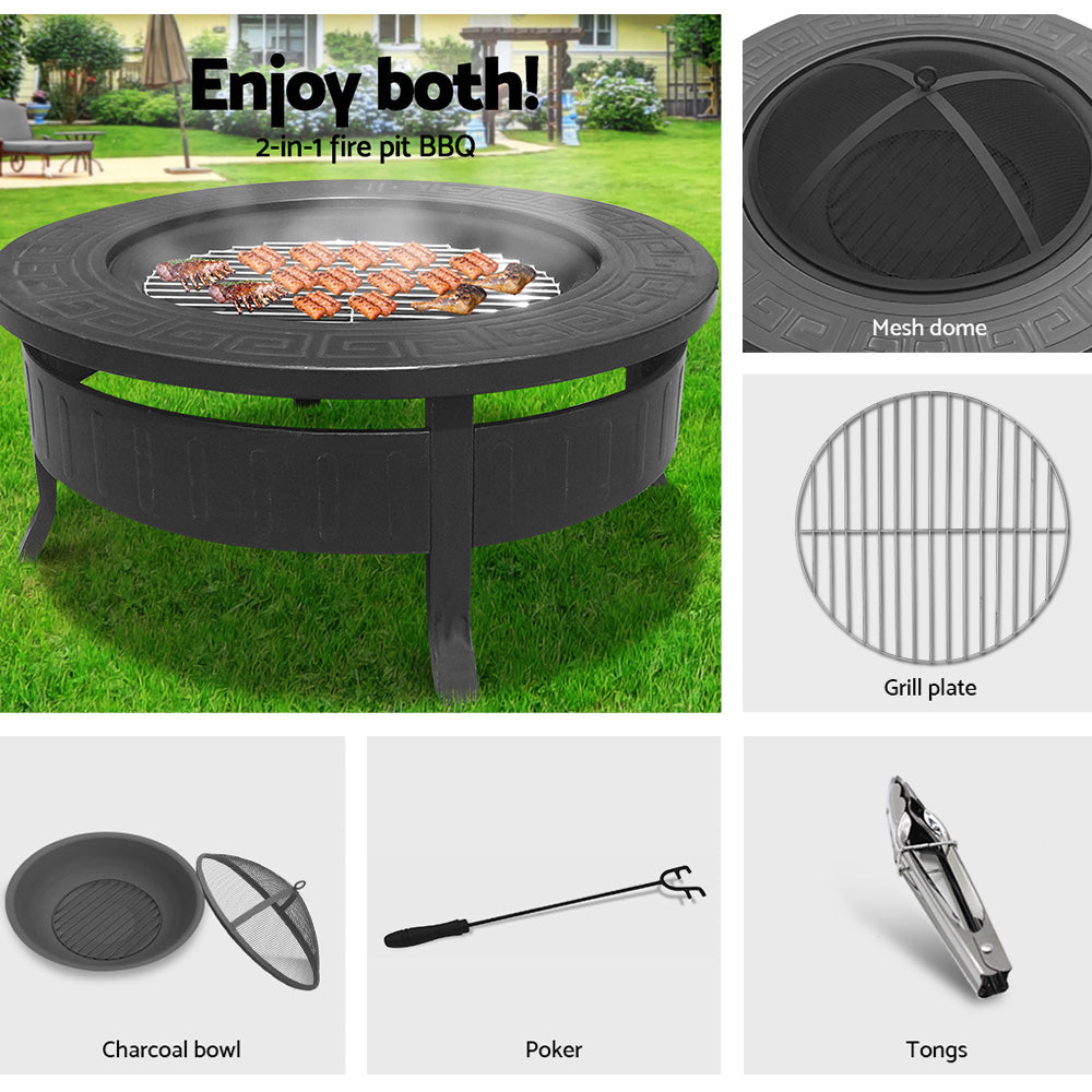 Round Outdoor Fire Pit BBQ Table Grill Fireplace