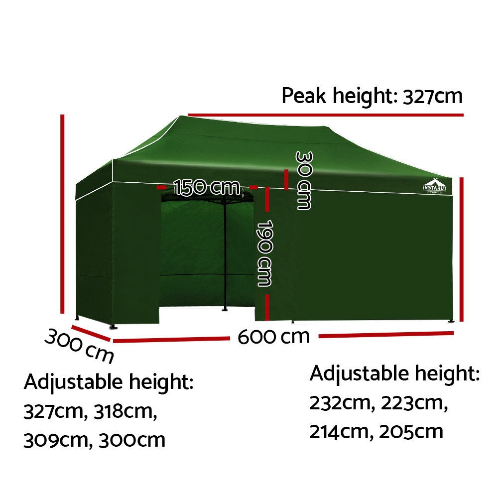 Instahut Gazebo Pop Up Marquee 3x6m Folding Wedding Tent Gazebos Shade Green
