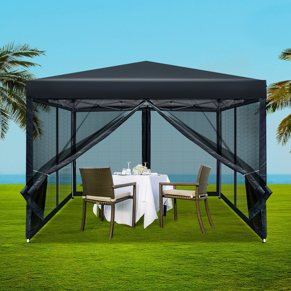 Instahut Gazebo Pop Up Marquee 3x3m Wedding Mesh Side Wall Outdoor Gazebos Black