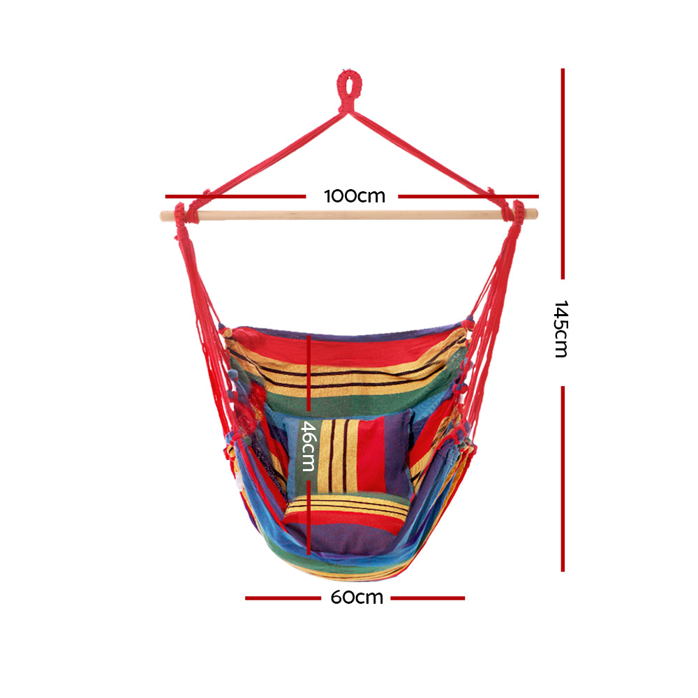 Gardeon Hammock Swing Chair with Cushion - Multi-colour