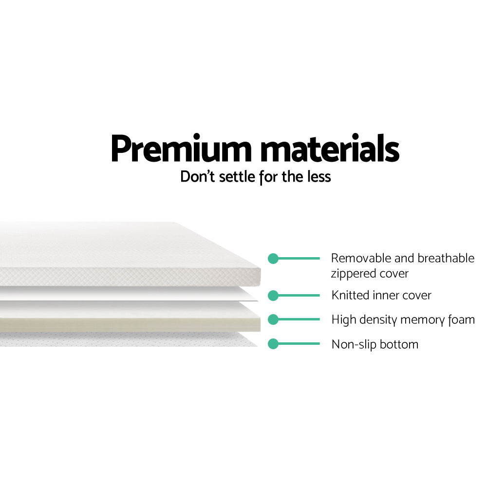 Memory Foam Mattress Topper Queen Size 5cm Underlay Fabric Cover