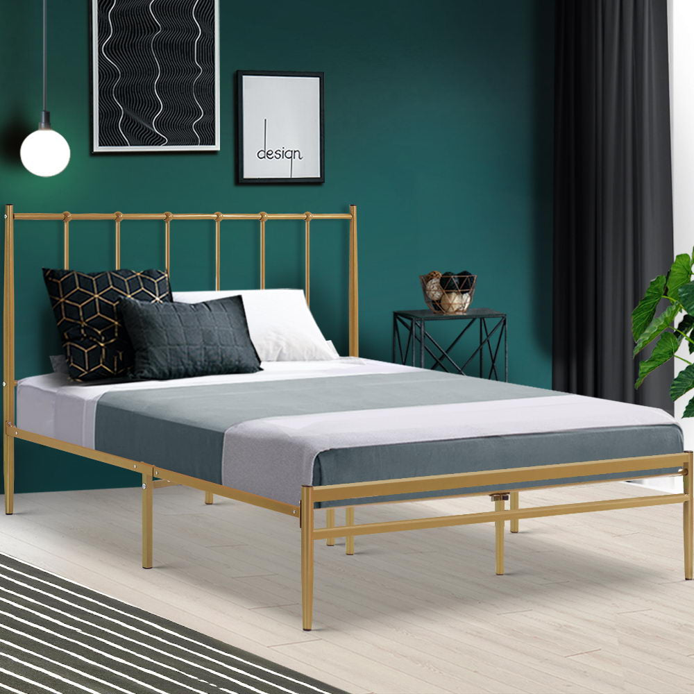Metal Bed Frame Double Size Mattress Base Platform Foundation Gold Amor