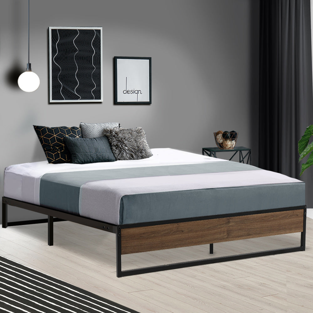 Metal Bed Frame Queen Size Mattress Base Platform Foundation Wooden Black OSLO