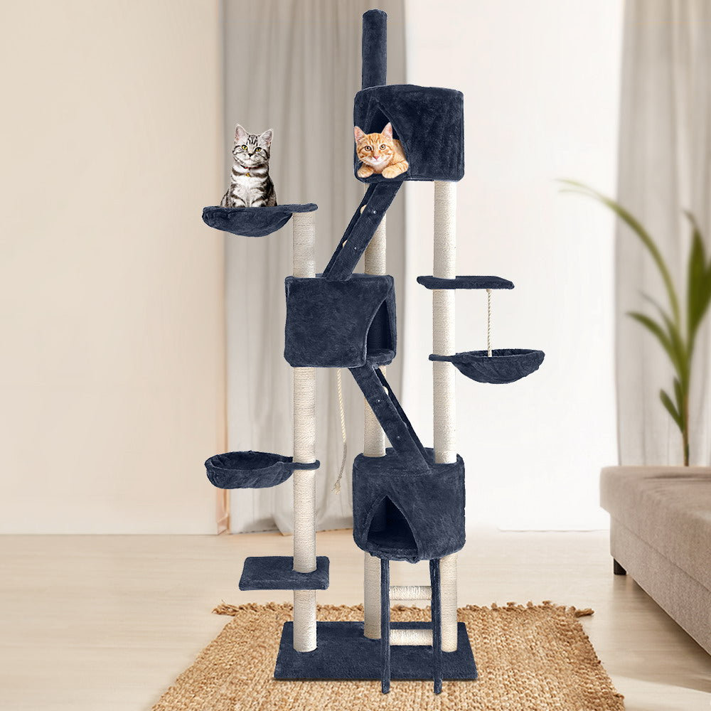 i.Pet Cat Tree 244cm Trees Scratching Post Scratcher Tower Condo House Furniture Wood - AusWide Deals