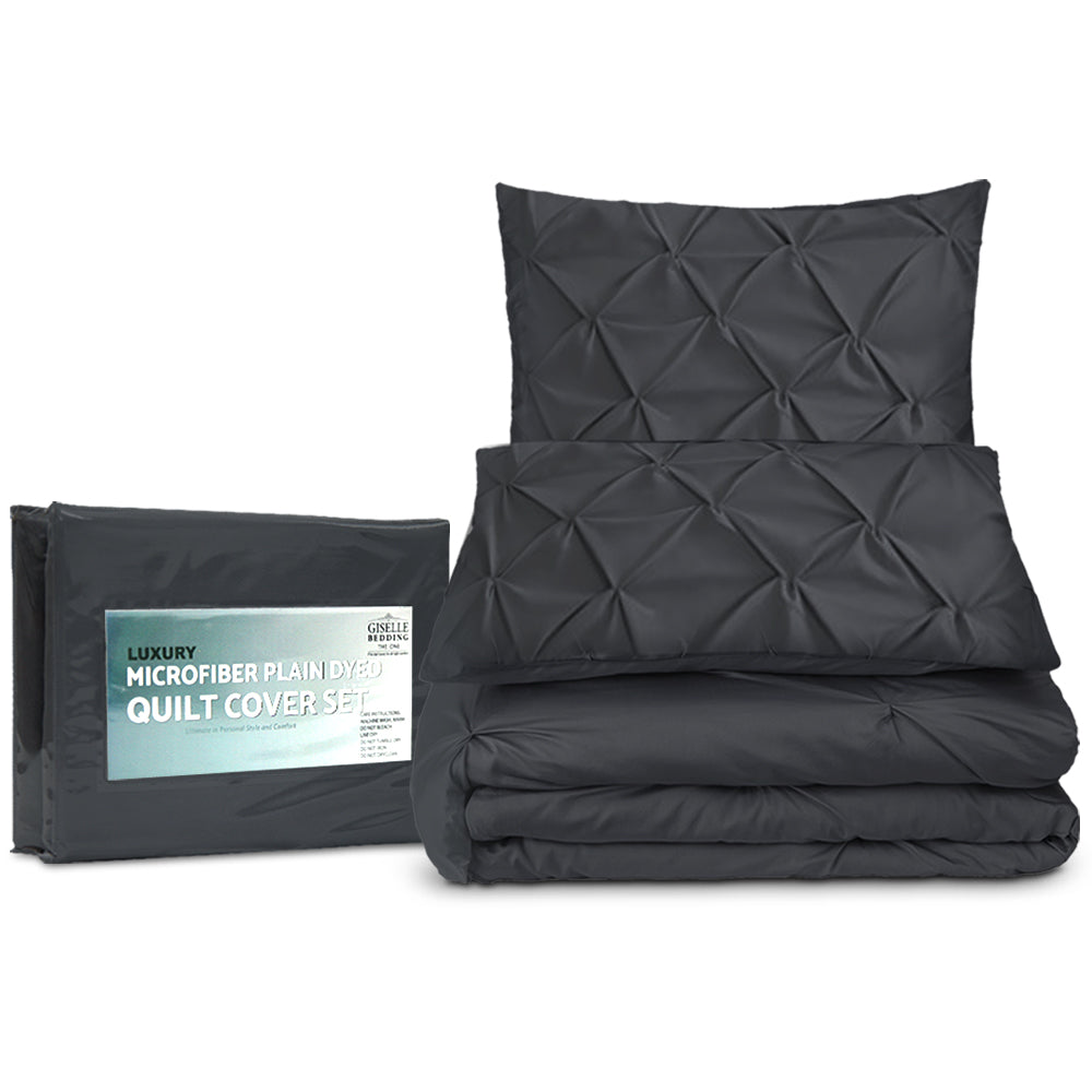 King Size Quilt Cover Set - Black