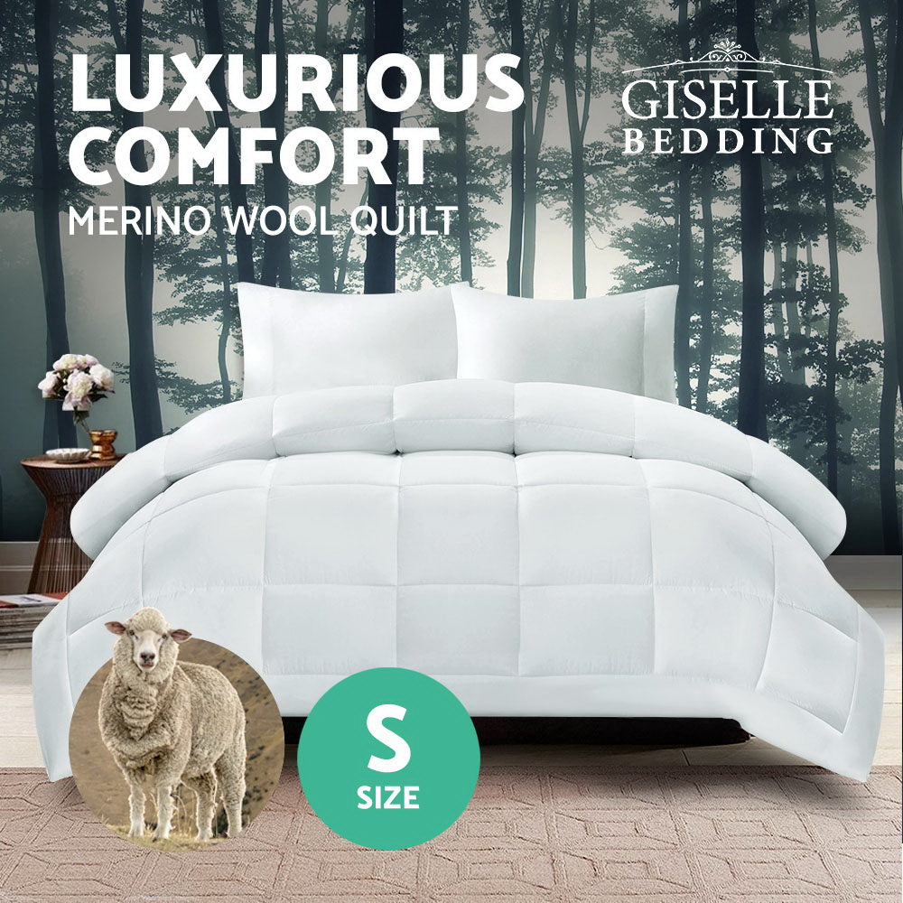 Giselle Bedding Single Size Merino Wool Duvet Quilt