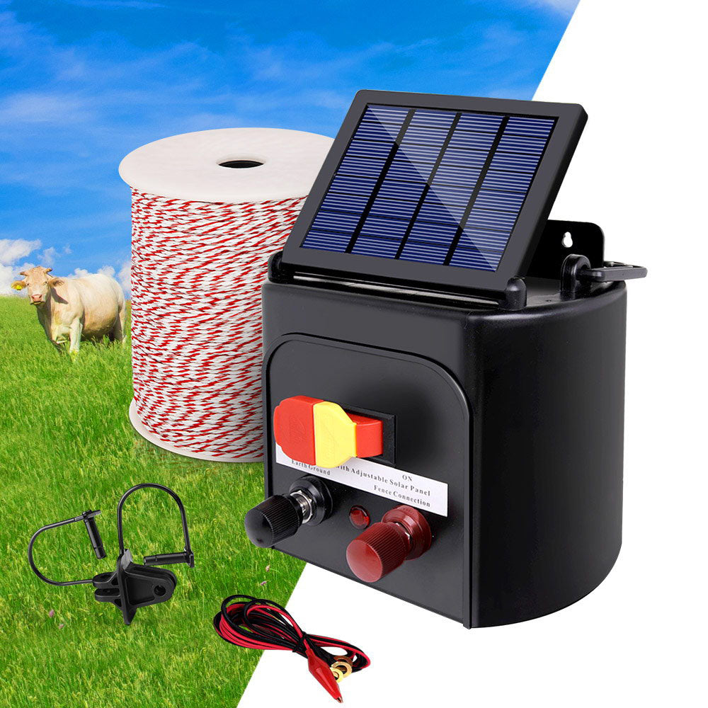 Giantz 5km Solar Electric Fence Energiser Charger with 500M Tape and 25pcs Insulators - AusWide Deals
