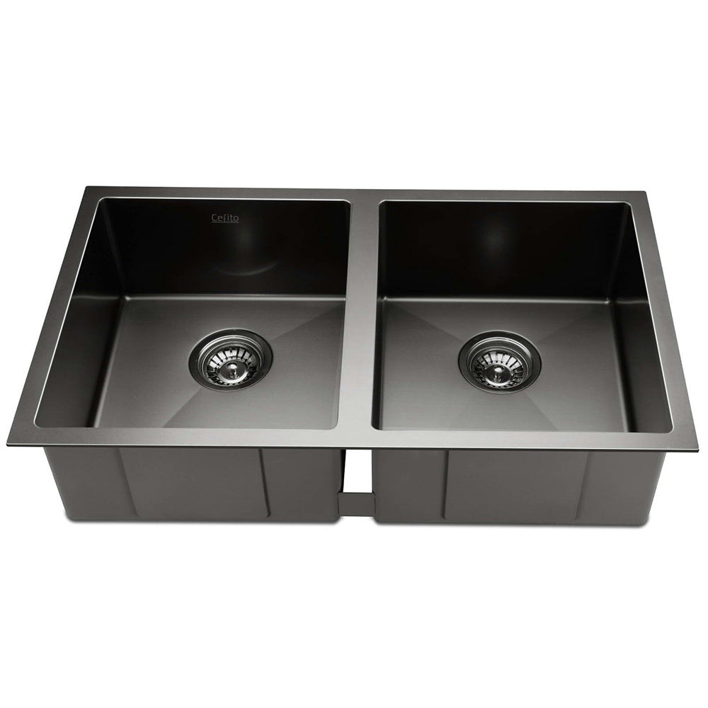 Stainless Steel Kitchen Sink 770X450MM Under/Topmount Laundry Double Bowl Black