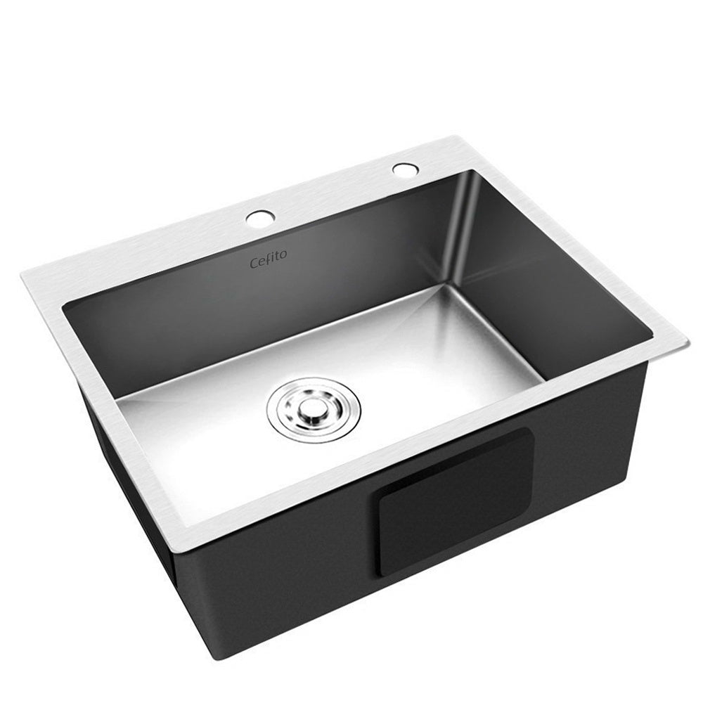 Stainless Steel Kitchen Sink 600X450MM Under/Topmount Sinks Laundry Bowl Silver