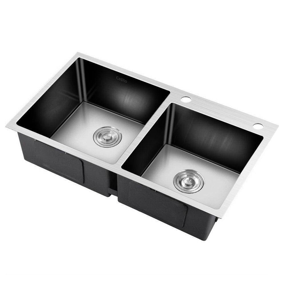 Stainless Steel Kitchen Sink 800X450MM Under/Topmount Laundry Double Bowl Silver