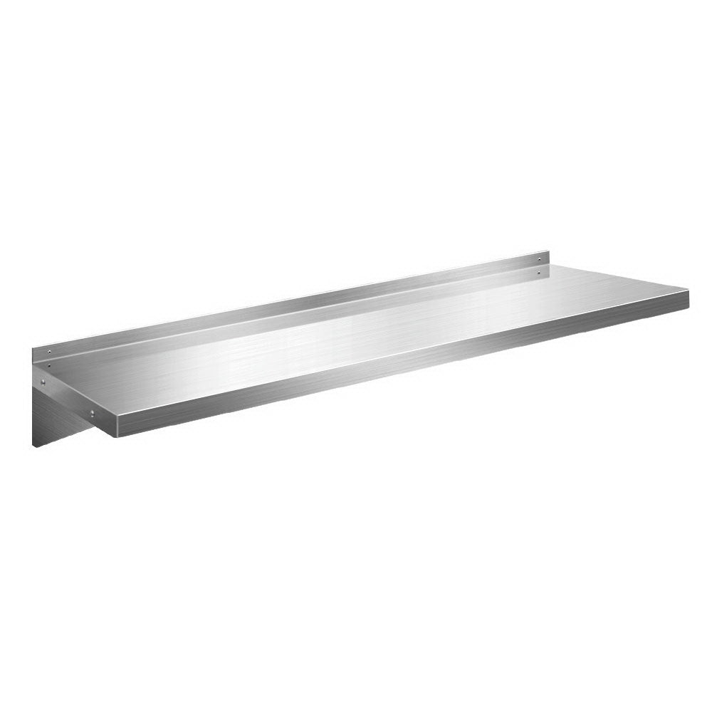 Stainless Steel Wall Shelf Kitchen Shelves Rack Mounted Display Shelving 1500mm