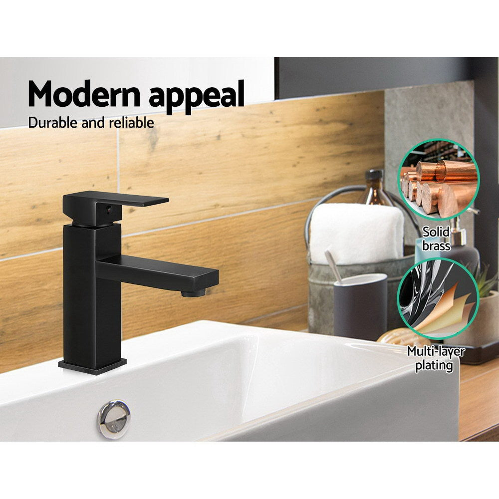 Cefito Basin Mixer Tap Faucet Bathroom Vanity Counter Top WELS Standard Brass Black