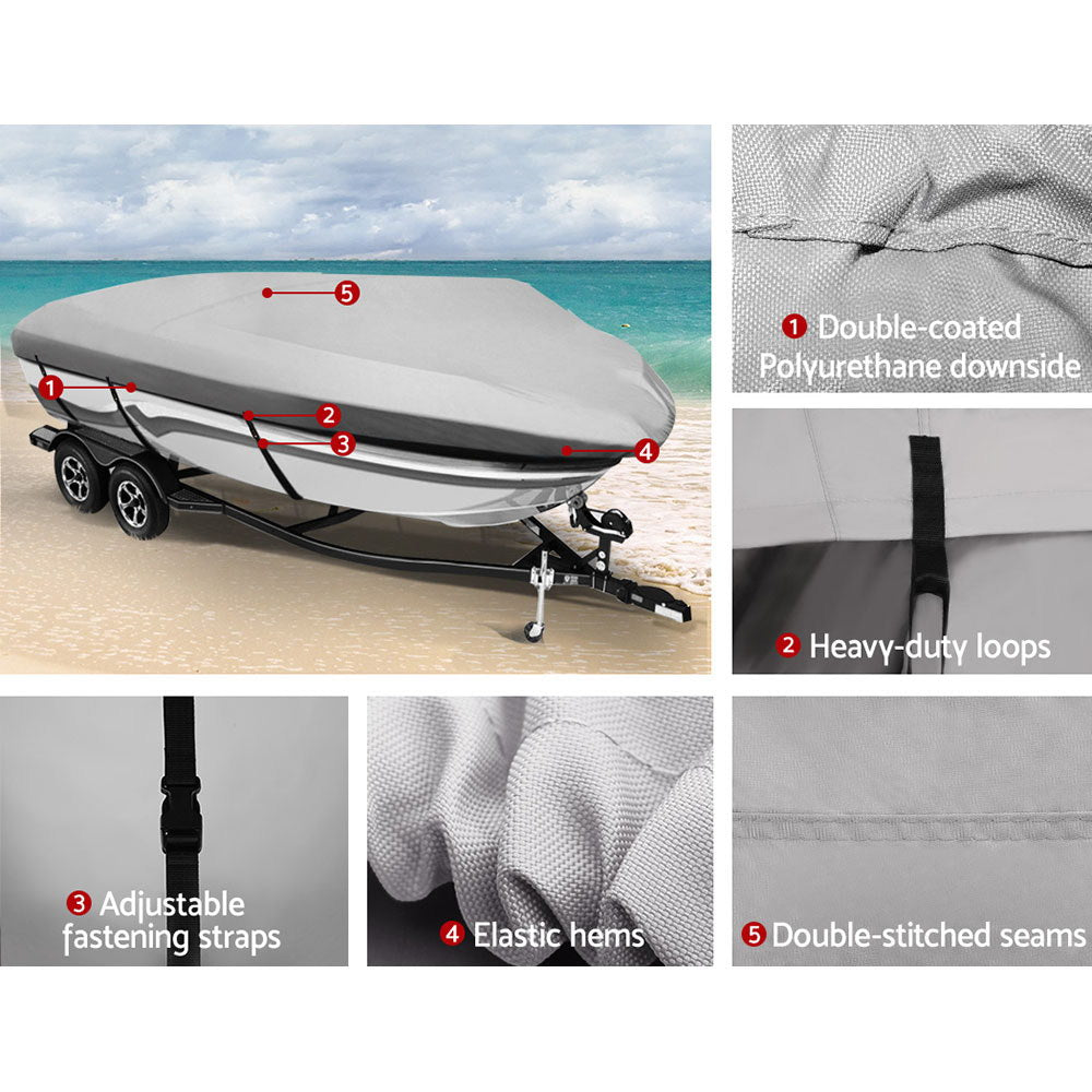 Seamanship Premium 12-15.5ft Boat Cover Trailerable Marine Grade Waterproof 600D
