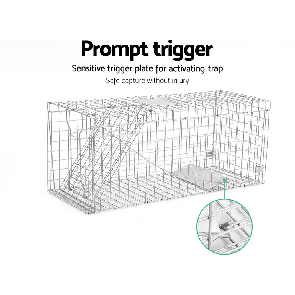 Animal Trap Cage 150 x 50 x 53cm  - Silver - AusWide Deals