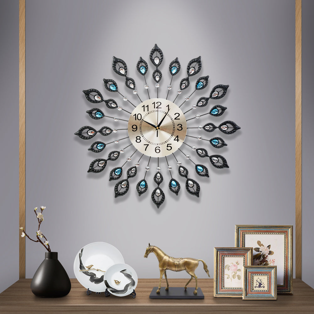 Large Modern 3D Crystal Wall Clock Luxury Golden Glass Round Dial Home Office - AusWide Deals