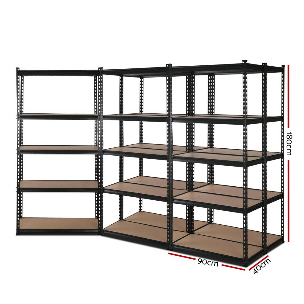 5x0.9M 5-Shelves Steel Warehouse Shelving Racking Garage Storage Rack Black